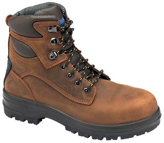 Boot - Lace Up Safety Blundstone Crazy Horse Leather Rubber Sole Water Resistant Brown - 14