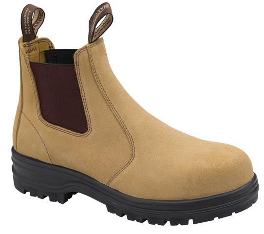 Boot - Elastic Sided Safety Blundstone Suede Leather PU/TPU Sole Fawn - 13
