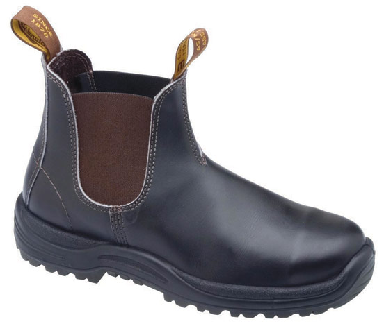 Boot - Elastic Sided Safety Blundstone Premium Oil Tanned Leather V Cut TPU Sole  Brown - 14
