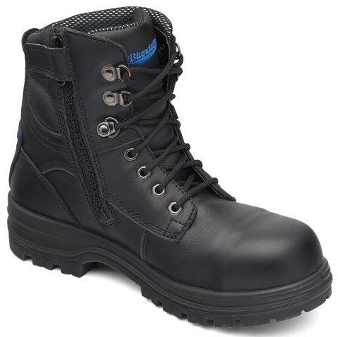 Boot - Lace Up/Zip Side 150mm Safety Blundstone 242 Water Resist Leather PU/TPU Sole Black - 13