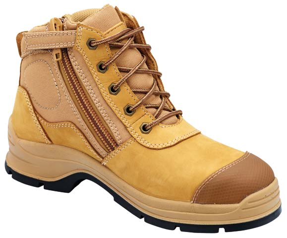 Boot - Lace Up/Zip Side 150mm Safety Blundstone Nubuck Leather c/w Scuff Cap PU/TPU Sole Wheat - 13