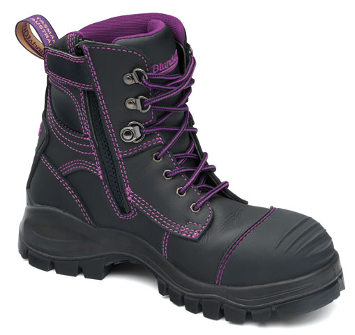 Boot - Lace Up/Zip Side Safety Womens Blundstone 897 Water Resist Leather c/w Toe Guard PU/Rubber Sole Black - 11