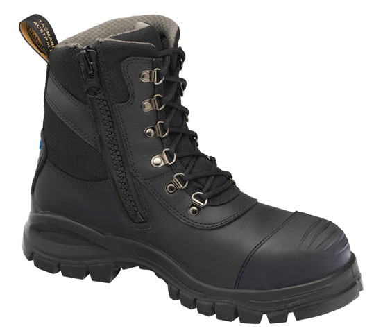 Boot - Lace Up/Zip Side Safety Blundstone 982 Chemical/Water Resist Leather PU/Rubber Sole Black - 14