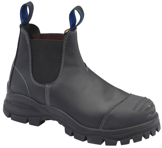 Boot - Elastic Sided Safety Blundstone Leather c/w Toe Guard PU/Rubber Sole Water Resistant Black - 14