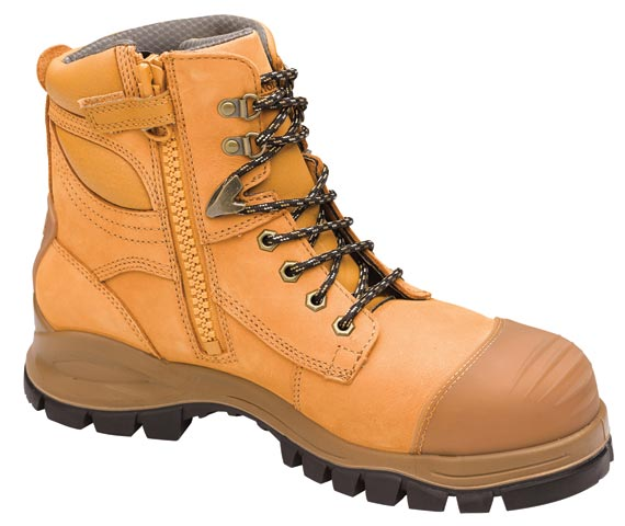 Boot - Lace Up/Zip Side Safety 150mm Blundstone Nubuck Leather c/w Toe Guard PU/Rubber Sole Water Resistant Wheat - 14