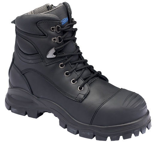 Boot - Lace Up/Zip Side Safety 150mm Blundstone Leather c/w Toe Guard PU/Rubber Sole Water Resistant Black - 14