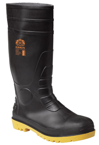 Gumboot - Safety Kings PVC/Nitrile 400mm c/w Steel Midsole Black/Yellow - 13