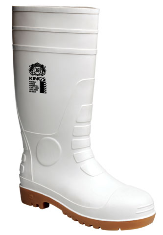 Gumboot - Safety Kings PVC/Nitrile 400mm White/Tan - 13