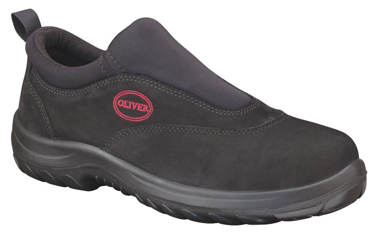 Shoe - Slip On Sports Safety Oliver 34610 Nubuck Leather DDPU Sole Water Resistant Black - 13