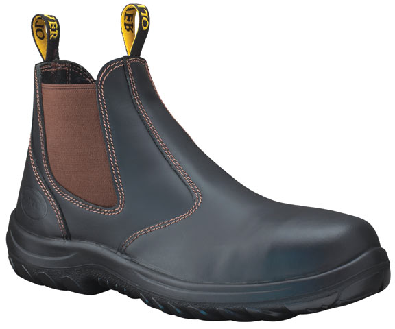 Boot - Elastic Sided Safety Oliver Full Grain Leather DDPU Sole Water Resistant Claret - 13