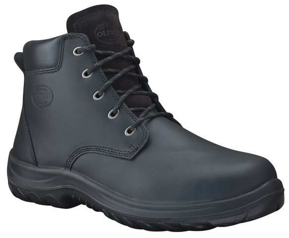 Boot - Lace Up Safety Oliver Full Grain Leather Padded Collar DDPU Sole Water Resistant Black - 13