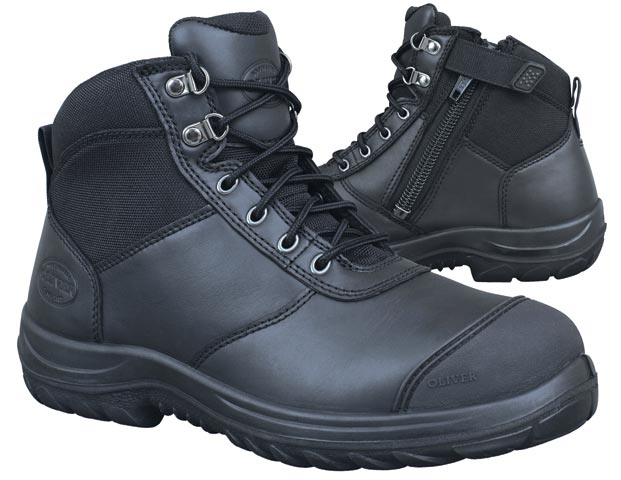 Boot - Lace Up/Zip Side Ankle Safety Oliver Full Grain Leather DDPU Sole c/w Scuff Cap Water Resistant Black - 13