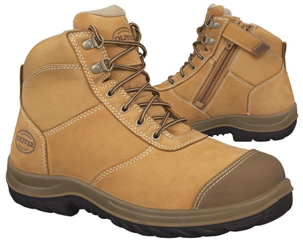 Boot - Lace Up/Zip Side Ankle Safety Oliver Full Grain Leather DDPU Sole c/w Scuff Cap Water Resistant Wheat - 13