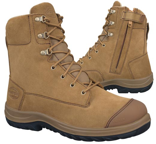 Boot - Lace Up/Zip Side 190mm Safety Oliver Suede Leather DDPU Sole c/w Scuff Cap Water Resistant Beige - 13