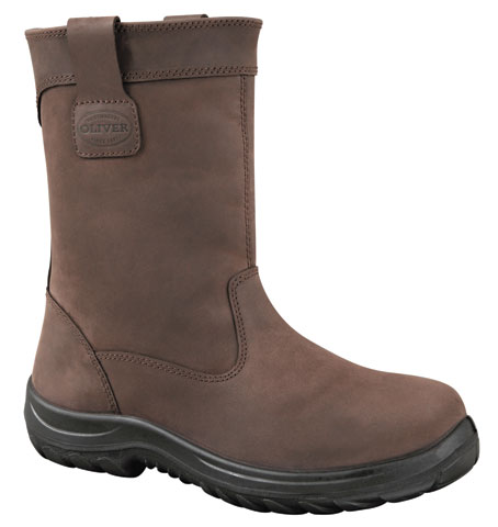 Boot - Pull On 250mm Riggers Safety Oliver Leather DDPU Sole Scuff Cap Water Resistant Brown - 13