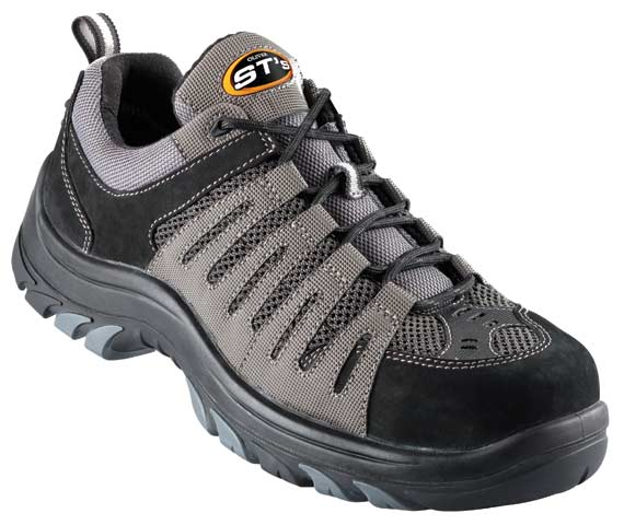 Shoe - Lace Up Safety Sports Oliver 44515 Nubuck Leather & Synthetics Non Metallic Cap PU/TPU Sole Grey/Black - 14