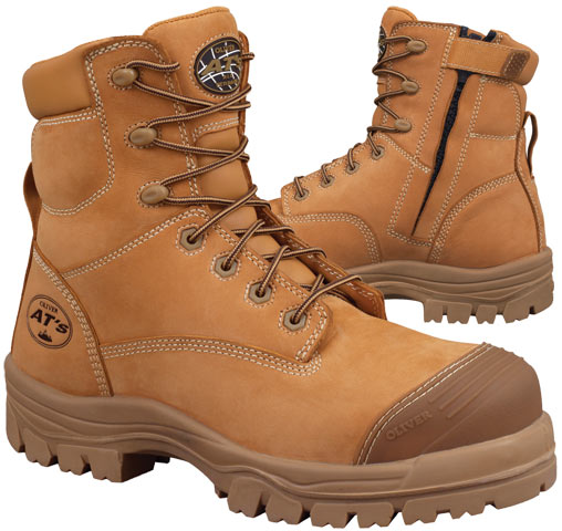 Boot - Lace Up/Zip Side Safety 150mm Oliver AT45 Nubuck Leather Composite Toe c/w Scuff Cap PU/TPU Sole Water Resistant Wheat - 14