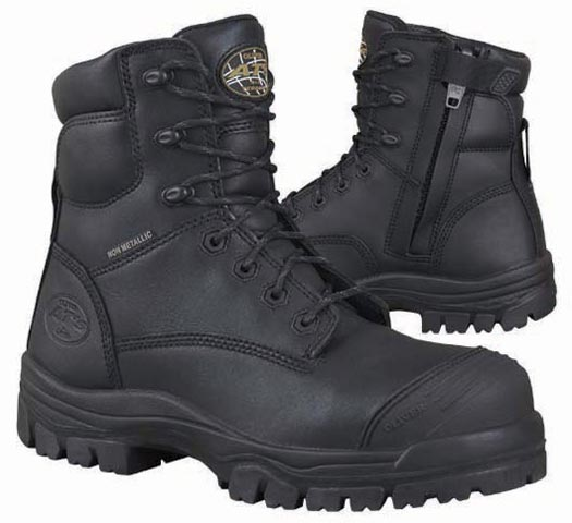 Boot - Lace Up/Zip Side Safety 150mm Oliver AT45 Full Grain Leather Composite Toe c/w Scuff Cap PU/TPU Sole Water Resistant Black - 14
