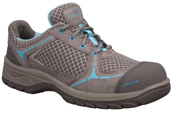 Shoe - Lace Up Womens Safety Jogger Microfibre&Sports Mesh Lined DD PU/Rubber Sole Safety Grey/Blue - 42