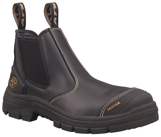 Boot -  Elastic Sided Safety Oliver AT55 Full Grain Leather c/w Scuff Cap PU/Rubber Sole Water Resistant Black - 14
