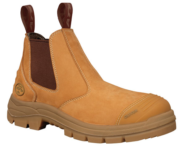 Boot -  Elastic Sided Safety Oliver AT55 Nubuck Leather c/w Scuff Cap PU/Rubber Sole Water Resistant Wheat - 14