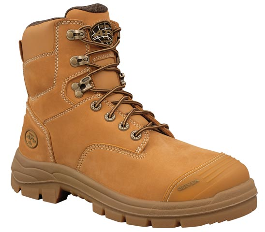 Boot -  Lace Up Safety 150mm Oliver AT55 Nubuck Leather c/w Scuff Cap PU/Rubber Sole Water Resistant Wheat - 14