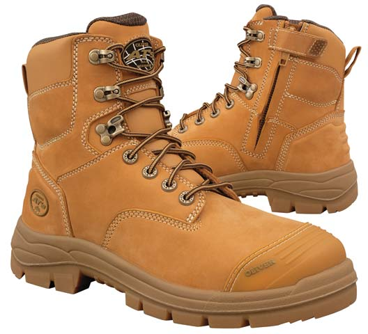 Boot -  Lace Up/Zip Side Safety 150mm Oliver AT55 Nubuck Leather c/w Scuff Cap PU/Rubber Sole Water Resistant Wheat - 14