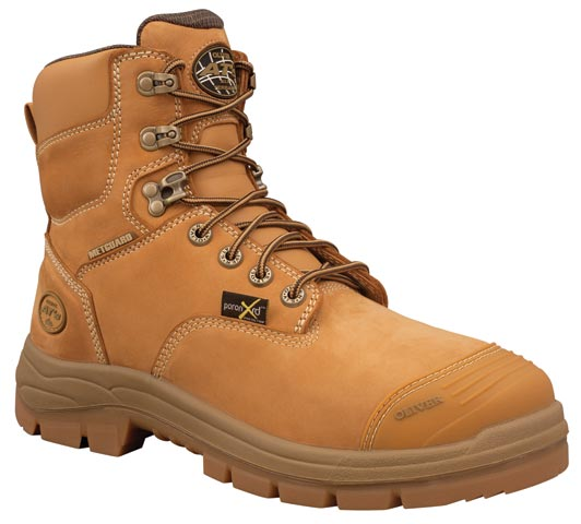 Boot - Lace Up Safety 150mm Oliver AT55 Nubuck Leather c/w Scuff Cap & Metatarsal Guard PU/Rubber Sole Water Resistant Wheat - 14