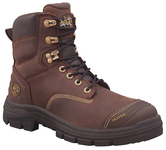 Boot - Lace Up Safety 150mm Oliver AT55 Full Grain Leather c/w Scuff Cap PU/Rubber Sole Water Resistant Brown - 14