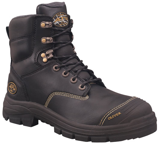 Boot - Lace Up Safety 150mm Oliver AT55 Full Grain Leather c/w Scuff Cap PU/Rubber Sole Water Resistant Black - 14