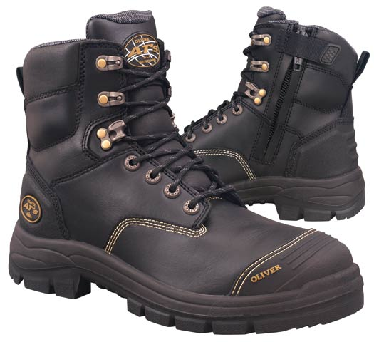 Boot - Lace Up/Zip Side Safety 150mm Oliver AT55 Full Grain Leather c/w Scuff Cap PU/Rubber Sole Water Resistant Black - 14
