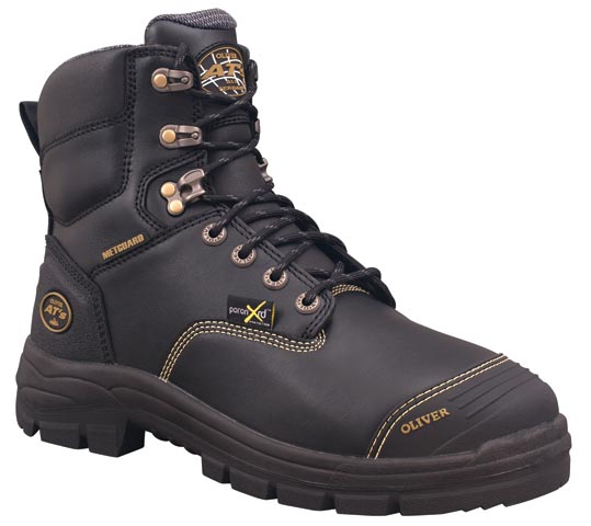 Boot - Lace Up Safety 150mm Oliver AT55 Full Grain Leather c/w Scuff Cap & Metatarsal Guard PU/Rubber Sole Water Resistant  Black- 14