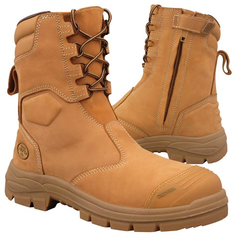 Boot - Lace Up/Zip Side Safety 200mm Oliver AT55 Nubuck Leather c/w Scuff Cap PU/Rubber Sole Water ResistantWheat - 14