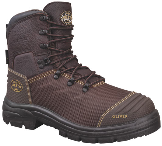 Boot - Lace Up Safety 150mm Oliver AT65 Condura Leather c/w Scuff Cap PU/Rubber Sole Water/Caustic Resistant Brown - 14