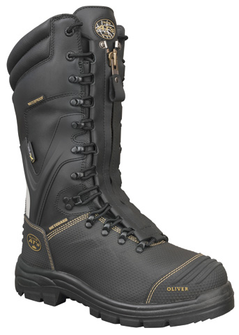 Boot - Laced In Zip Safety 240mm Oliver AT65 Mining Full Grain Leather c/w Scuff Cap & Metatarsal Guard PU/Rubber Sole Water/Caustic Resistant Black - 14