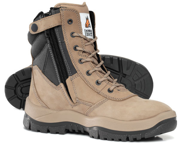 Boot - Safety Mongrel 251060 High Leg Zip Side TPU/PU Sole Nubuck Leather Stone - 14