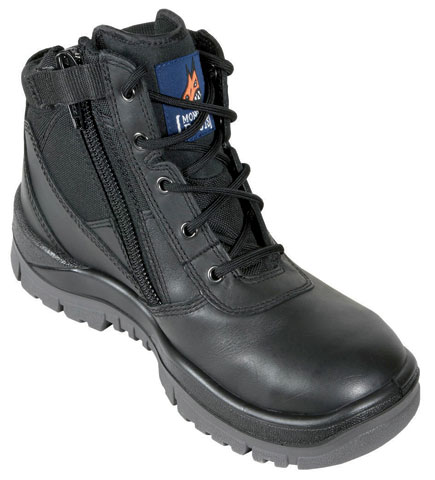 Boot - Safety Mongrel Zip Sided Lace Up DD/TPU Sole Black - 14