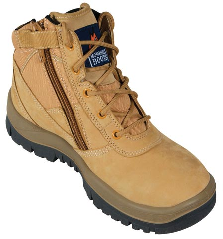 Boot - Safety Mongrel 261050 Zip Sided Lace Up DD/TPU Sole Wheat - 14