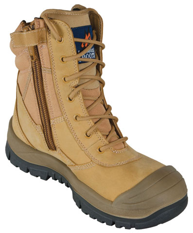 Boot - Safety Mongrel 451050 High Leg Lace Up Zip Side c/w Scuff Cap DD TPU Sole Wheat - 14