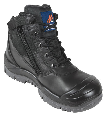 Boot - Safety Mongrel Ankle Lace Up Zip Side c/w Scuff Cap DD TPU Sole Black - 14