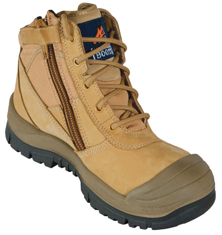 Boot - Safety Mongrel Ankle Lace Up Zip Side c/w Scuff Cap DD TPU Sole Wheat - 14