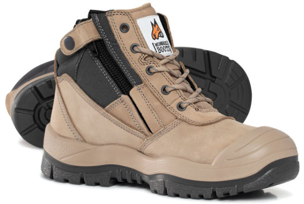 Boot - Safety Mongrel 461060 Ankle Zip Sided Lace Up TPU/PU Sole c/w Scuff Cap Nubuck Leather Stone - 14