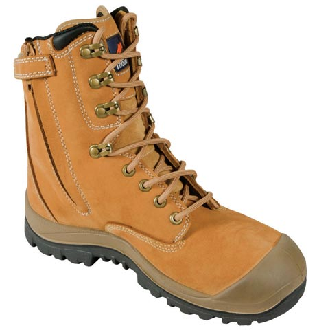 Boot - Safety Mongrel 551050 High Leg Zip Sided Lace Up SP/Rubber Sole c/w Scuff Cap Wheat - 13