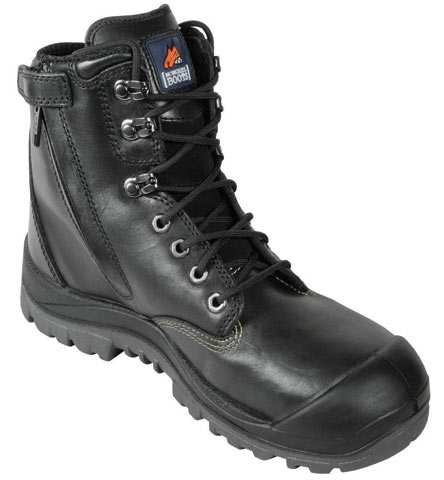 Boot - Safety Mongrel High Leg Zip Sided Lace Up SP PU/Rubber Sole c/w Scuff Cap Black - 13
