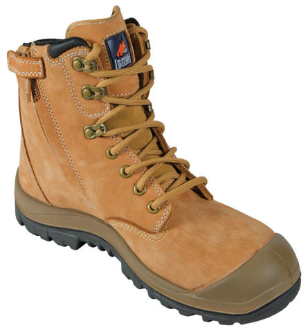 Boot - Safety Mongrel 561050 High Leg Zip Sided Lace Up SP PU/Rubber Sole c/w Scuff Cap Wheat - 13