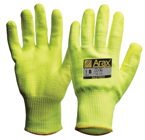Glove - Polyurethane Palm Dip ARAX GOLD Liner ProChoice HI VIS Yellow Cut Resistant (Level D) - 11