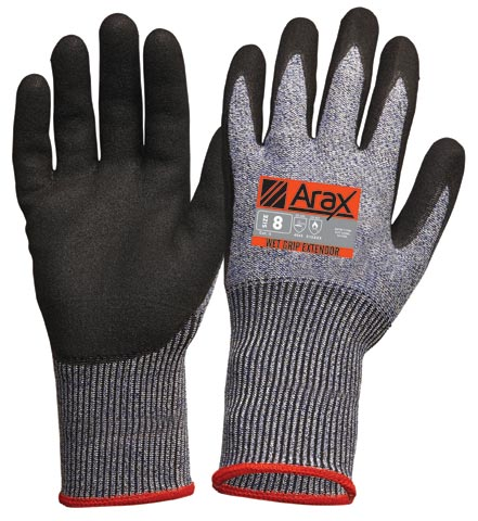 Glove - Nitrile Sand Dip ARAX Wet Grip Extendor Cuff Cut Resistant (Level D) - 11