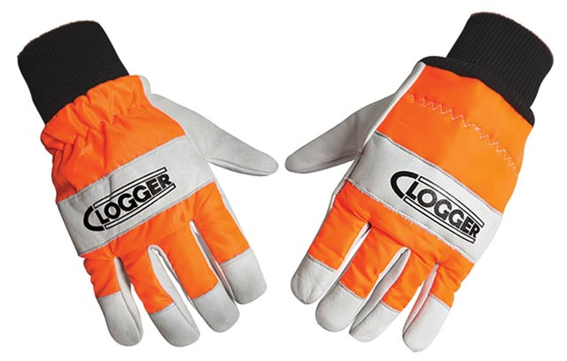 Glove - Chainsaw Clogger GA1 Cowhide Leather HI VIS Nylon Back Class 0 - XL