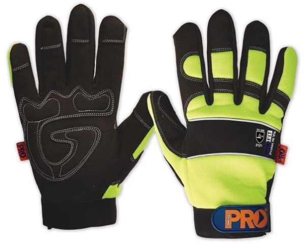 Glove - Leather Synthetic Pro-Fit Grip HI VIS Reinforced Palm Yellow - 2XL