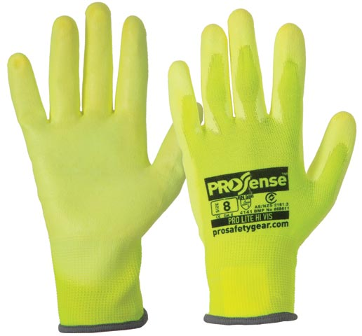 Glove - Nylon ProSense Pro-Lite Polyurethane Coated Palm HI VIS Yellow - 11